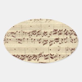 古い音楽ノート- Bach音楽シート 楕円形シール