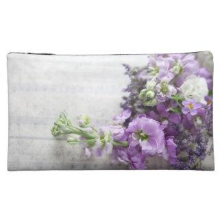 古い音楽化粧品のバッグのラベンダー色の花 コスメティックバッグ