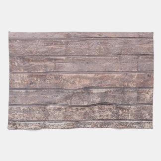 古い風化させた木製の壁の質 キッチンタオル
