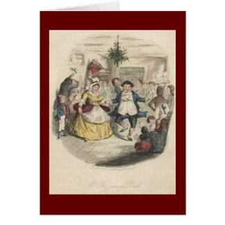 古いFezziwigのクリスマスの球、クリスマスキャロル グリーティングカード
