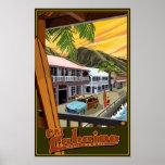 古いLahainaのハワイの波旅行ポスター ポスター