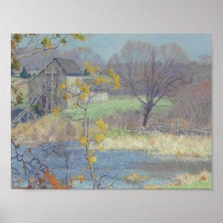 古いLYME、CONNECのモーリスBRAUNの(1877-1941年の)池 ポスター