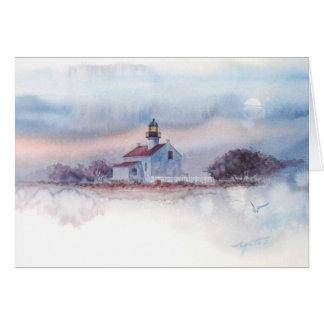 古いPTのたそがれ。 LOMAの灯台、サンディエゴ、カリフォルニア カード