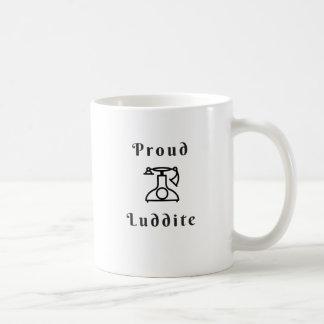 古いTimey電話を持つ誇り高いラダイト コーヒーマグカップ