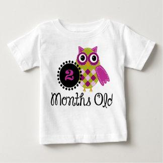 古く愛らしいフクロウ2か月の ベビーTシャツ