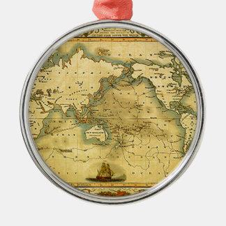 古く旧式な世界地図 メタルオーナメント