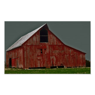 古く赤い納屋 ポスター