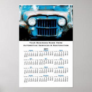 古く青いヴィンテージ車のグリルの自動壁掛けカレンダー ポスター