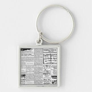 古く黒く及び白い新聞、ヴィンテージのレトロ広告 キーホルダー