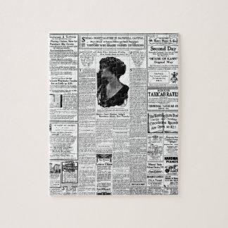 古く黒く及び白い新聞、ヴィンテージのレトロ広告 ジグソーパズル