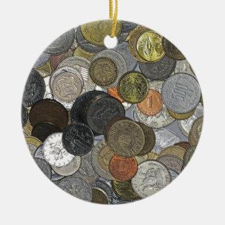古く、国際的な硬貨 セラミックオーナメント