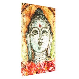 古さびのバリ島仏の水彩画のキャンバスのプリント17x25 キャンバスプリント