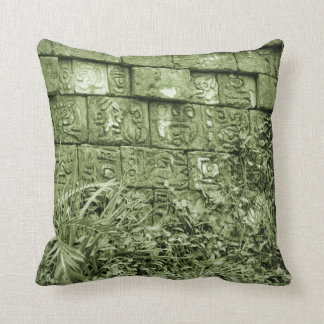古代アズテック派の壁のレプリカの緑の色合い クッション