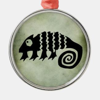古代アフリカの種族の記号のlinocut メタルオーナメント