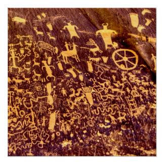 古代アメリカインディアン新聞石の岩石彫刻 ポスター