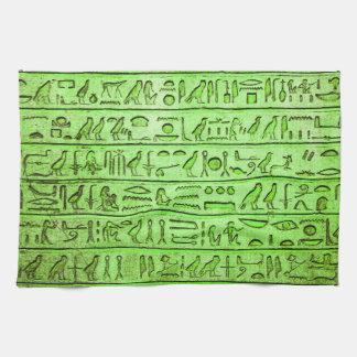 古代エジプトのヒエログリフの緑 キッチンタオル