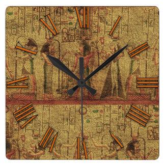 古代エジプトの寺院の壁の芸術 スクエア壁時計