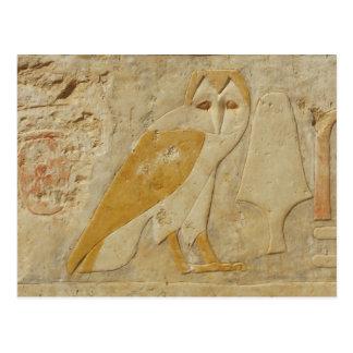 古代エジプト人のエジプトのフクロウのヒエログリフ ポストカード