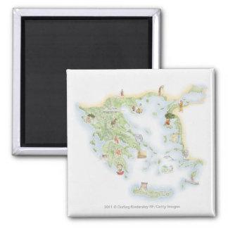 古代ギリシアの図解入りの、写真付きのな地図 マグネット