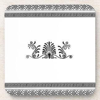 古代ギリシャ人のスタイルの白黒花柄 コースター
