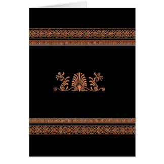 古代ギリシャ人のスタイルの黒いおよびオレンジ花柄 カード