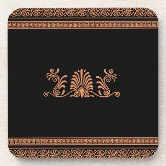 古代ギリシャ人のスタイルの黒いおよびオレンジ花柄 コースター