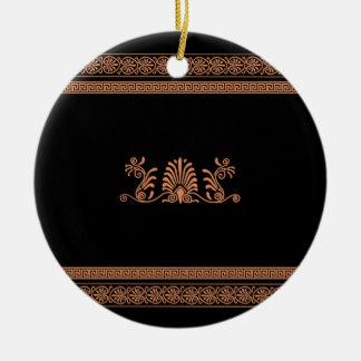 古代ギリシャ人のスタイルの黒いおよびオレンジ花柄 セラミックオーナメント