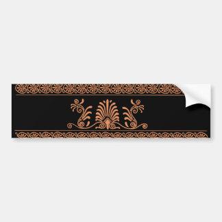 古代ギリシャ人のスタイルの黒いおよびオレンジ花柄 バンパーステッカー