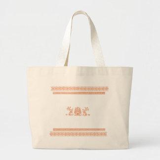 古代ギリシャ人のスタイルの黒いおよびオレンジ花柄 ラージトートバッグ