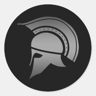 古代ギリシャ人のスパルタ式のヘルメット 丸形シールステッカー