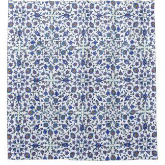 古代ハンドメイドのトルコの花柄のタイルパターン シャワーカーテン