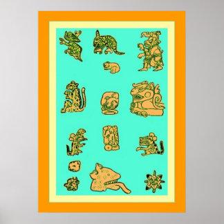 古代マヤのグリフ ポスター