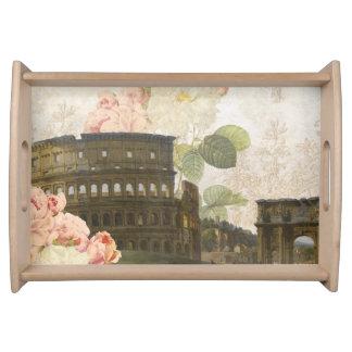 古代ローマのピンクのバラの皿 トレー