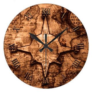 古代世界旅行者-地図及びコンパス面図 ラージ壁時計