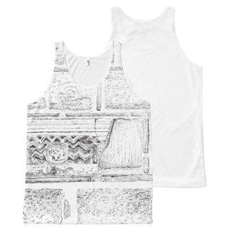 古代印が付いている石塀 オールオーバープリントタンクトップ