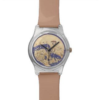 古代地球の地図のデザインの腕時計 腕時計