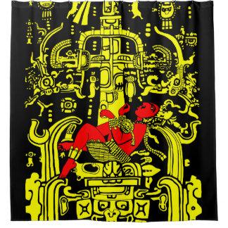 古代宇宙飛行士の-黄色及び赤い版 シャワーカーテン
