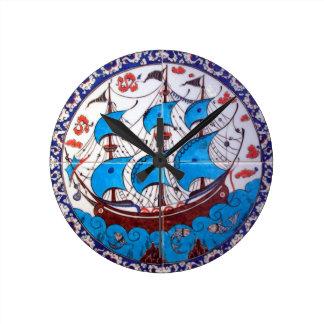 古代戦艦 ラウンド壁時計