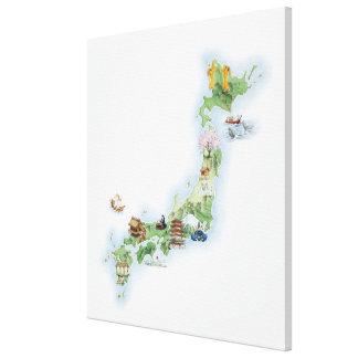 古代日本の図解入りの、写真付きのな地図 キャンバスプリント