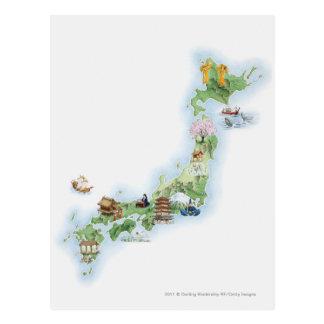 古代日本の図解入りの、写真付きのな地図 ポストカード
