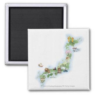 古代日本の図解入りの、写真付きのな地図 マグネット