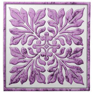 古代英国のタイルの暖かく柔らかい紫色 ナプキンクロス