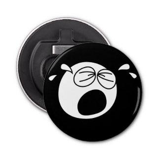 叫ぶ悲しい円形の白黒顔 ボタン型 ボトルオープナー