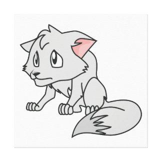 叫ぶ灰色の若いオオカミ子犬の招待状のスタンプ キャンバスプリント