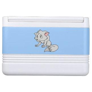 叫ぶ灰色の若いオオカミ子犬ランプ夜ライト IGLOOクーラーボックス