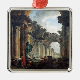 台なしのルーバー- 1796年の壮大なギャラリー シルバーカラー正方形オーナメント