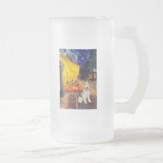 台地のカフェ-ワイヤーフォックステリア犬#1 フロストグラスビールジョッキ