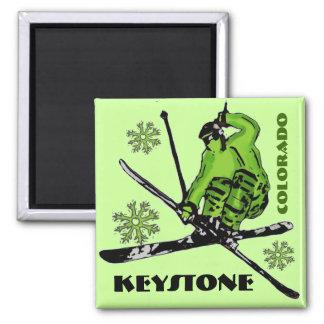 台形コロラド州の緑のテーマのスキー磁石 マグネット