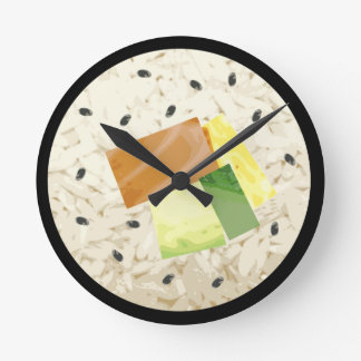 台所のための巨大な寿司の時計 ラウンド壁時計
