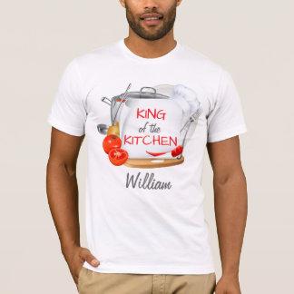 台所の名前入りなシェフのTシャツ王 Tシャツ